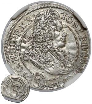 Śląsk, Józef I, 3 krajcary 1706 FN, Wrocław - ((3)) - rzadkie