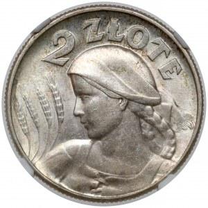 Kobieta i kłosy 2 złote 1925 z kropką, Londyn