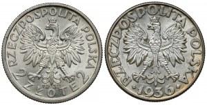 2 złote 1932 Głowa i 1936 Żaglowiec, zestaw (2szt)