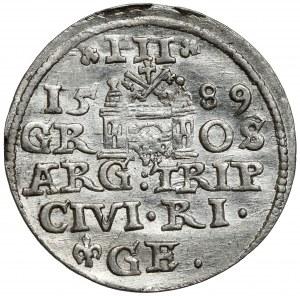 Zygmunt III Waza, Trojak Ryga 1589 - lilijka przed GE