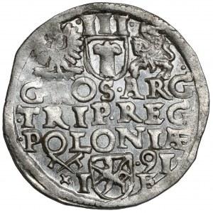 Zygmunt III Waza, Trojak Poznań 1591 - LI - piękny