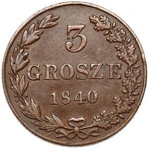3 grosze 1840 MW, Warszawa