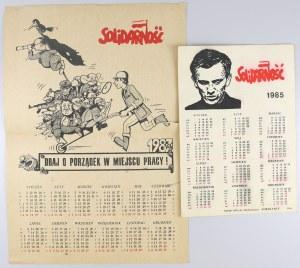 Solidarność, kalendarz '85 i '87 (2szt)