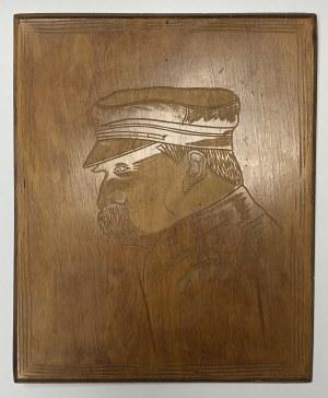 Józef Piłsudski - zestaw tematyczny - Drewniana plakieta, zdjęcia, druki i inne
