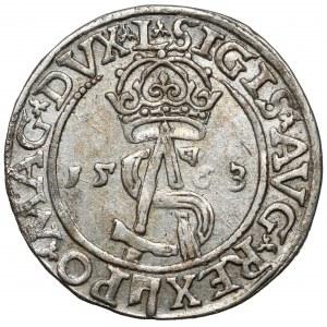 Zygmunt II August, Trojak Wilno 1563 - bez DG - prążkowany