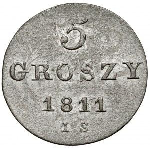 Księstwo Warszawskie, 5 groszy 1811 I.S. - mała data i inicjały