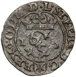 Stefan Batory, Szeląg Olkusz 1586 - NH przy koronie