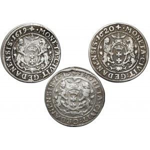 Zygmunt III Waza, Ort Gdańsk 1619-1620 - rzadsze roczniki (3szt)