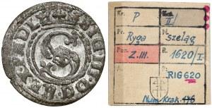 Zygmunt III Waza, Szeląg Ryga 1620 - 6Z0 - ex. Kałkowski