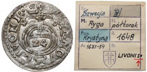 Krystyna Waza, Półtorak Ryga 1648 - ex. Kałkowski