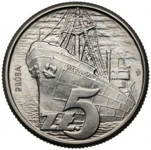 Próba NIKIEL 5 złotych 1958 - Statek