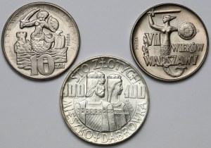 Zestaw prób 1965-1966 - w tym 100 złotych 1966 Mieszko i Dąbrówka (3szt)
