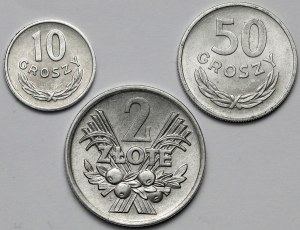 10 groszy 1962, 50 groszy 1957 i 2 złote 1971 - zestaw (3szt)