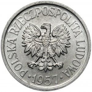 20 groszy 1957 - szeroka data - najrzadsza dwudziestogroszówka