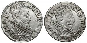 Zygmunt III Waza, Trojak Kraków 1620 i 1621, zestaw (2szt)