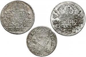 Zygmunt III Waza, Grosz Kraków 1612-1613 i Grosz Wilno 1626, zestaw (3szt)