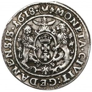 Zygmunt III Waza, Ort Gdańsk 1618 - liść klonu - napis daleko