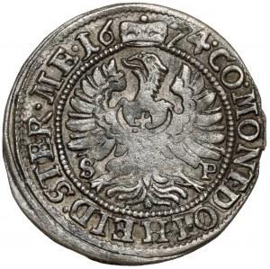 Śląsk, Sylwiusz Fryderyk, 3 krajcary 1674 SP, Oleśnica