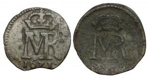 Michał Korybut, Szeląg Toruń 1671 i bez daty- zestaw (2szt)