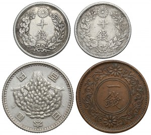 Japan, lot of 4 silver and bronze coins (4pcs)