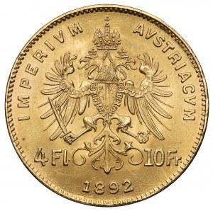 Austria, Franciszek Józef I, 4 floreny = 10 franków 1892