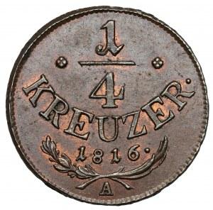 Austria, Franciszek I, 1/4 krajcara 1816-A