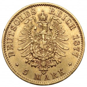 Saschen, 5 mark 1877-E, Dresden