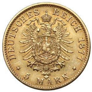 Hamburg, 5 mark 1877-J, Hamburg