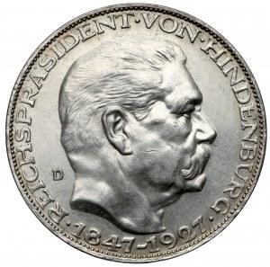 Silbermedaille, 1927-D München, Auf den 80 Geburtstag von Hindenburg