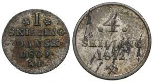 Denmark and Norway, I Skilling Danske 1809 and 4 skilling 1842, lot (2pcs)