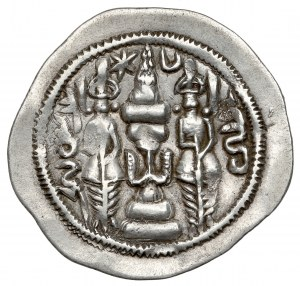 Sasanidzi, Khusro I (531-579), mennica niezidentyfikowana, r. 46, Drachma