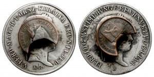 Austria, 20 krajcarów 1840 i 1848 przerobione na spinki (2szt)