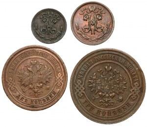 Rosja, Mikołaj II, od 1/4 do 3 kopiejek, zestaw (4szt)