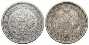 Rosja, Mikołaj I / Aleksander II, 25 kopiejek 1853-1859, zestaw (2szt)