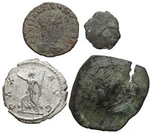 Cesarstwo Rzymskie i Grecja, zestaw monet srebrnych i brązowych (4szt)