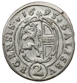 Austria, Johann Ernst von Thun, 2 krajcary 1695, Salzburg