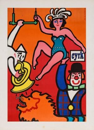 Jan MŁODOŻENIEC Cyrk. Akrobatka na ręce clowna, 1973 r.