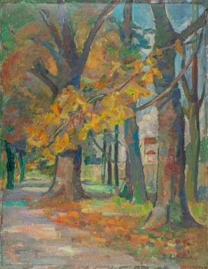 Przebindowski Zdzisław, Planty krakowskie. Aleja parkowa jesienią, 1957