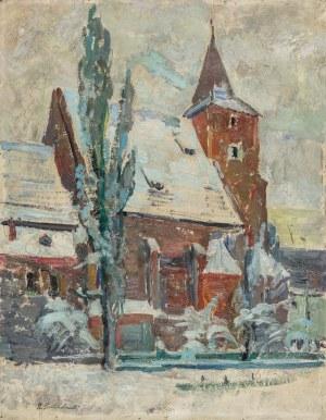 Przebindowski Zdzisław, Planty krakowskie. Kościół Świętego Krzyża zimą, 1957