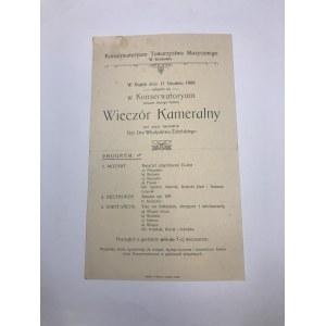 Program wieczoru kameralnego Władysława Żeleńskiego 11 grudnia 1908