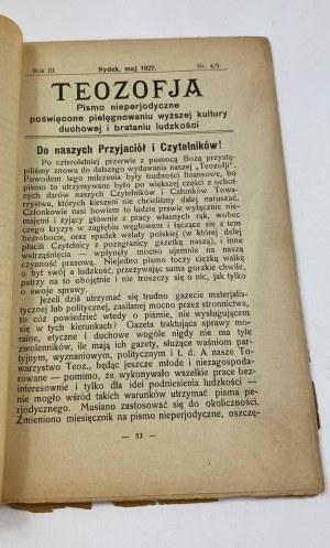 [Czasopismo] Teozofia. Pismo nieperiodyczne poświęcone pielęgnowaniu wyższej kultury duchowej i brataniu ludzkości Nr 4/5 Rok III