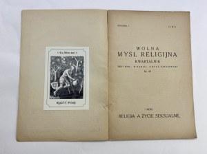Wolna myśl religijna. Kwartalnik nr 4/1, Rocznik 1, Zima; Religia a życie seksualne