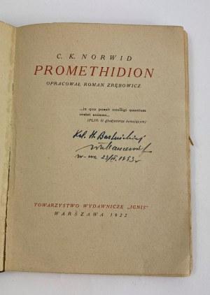 Norwid Cyprian Kamil Promethidion Ignis Warszawa 1922 [skórzana oprawa Radziszewski]
