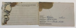 [Polak w rękach systemu III Rzeszy] 2 listy z niemieckiego obozu jenieckiego Stalagu XA, na specjalnie drukowanych blankietach.