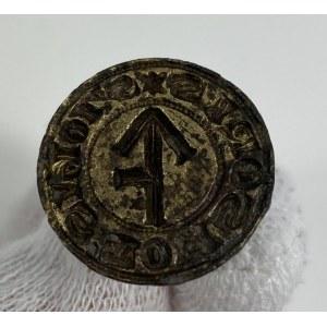 [Pieczęć herbowa] Tłok pieczętny gotycki z polskim herbem Lis odmienny. Średnica 2,2 cm. Wys. 2,1cm. Brąz. Polska XV w.