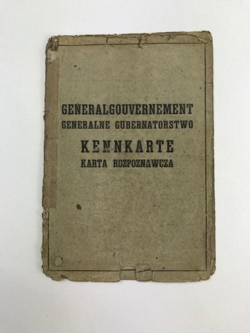 [Kenkarta Generalne Gubernatorstwo] Kennkarte Karta rozpoznawcza nr 4735 Czesława Buczyńskiego