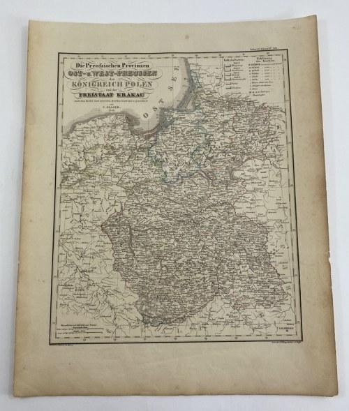 """[Królestwo Polskie] """"Die Preussischen Provinzen Ost u. West-Preussen das Königreich Polen und der Freistaat Krakau"""""""