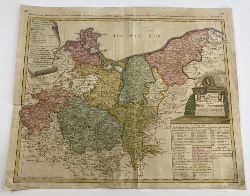 """[Pomorze i Brandenburgia] """"Der nordliche Theil des Ober Sächsischen Kreises oder die Mark Brandenburg und das Herzogthum Pommern (...) durch F.L.G. (Franz Ludwig Güssefeld) von den Homan Erben 1780""""."""