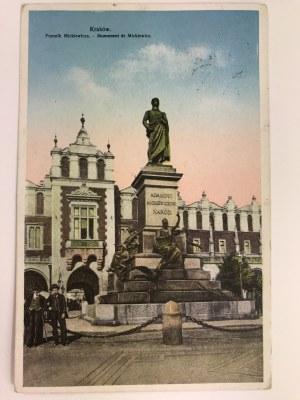 Karta pocztowa Kraków Pomnik Mickiewicza -Monument de Mickiewicz
