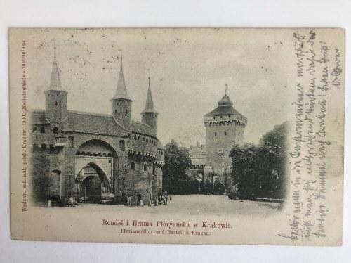 Karta pocztowa Kraków Rondel [Barbakan] i Brama Floryańska - Florianerthor und Bastei in Krakau, Wydawnictwo Salonu Malarzy Polskich, Kraków 1900